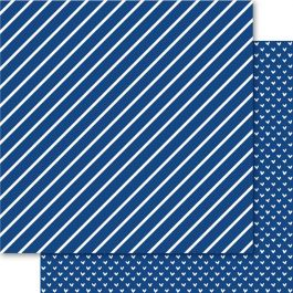 """Bella Hearts & Stripes Foiled Cardstock 12""""X12"""" Sapphire - HAS94"""