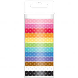 Doodlebug Monochromatic Washi Tape 8Mmx12Yds 12/Pkg Polka Dot - MONOWT-4802