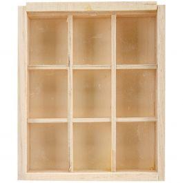 "Wood Craft Diy Natural Keepsake Box W/9 Compartments 4.75""X5.75""X1"" - WS288"
