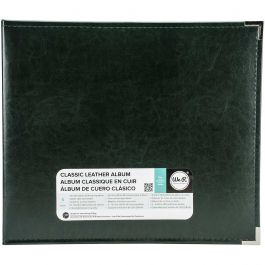 """We R Classic Leather D Ring Album 12""""X12"""" Forest Green - WRRING12-60915"""