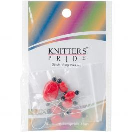 Knitter'S Pride Zooni Stitch Markers W/Colored Beads 7/Pkg Tangerine - KP800184