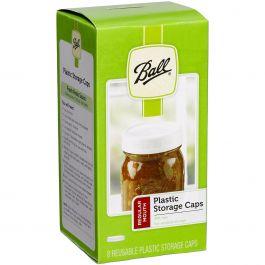Ball(R) Plastic Storage Caps 8/Pkg Regular Mouth - 36010