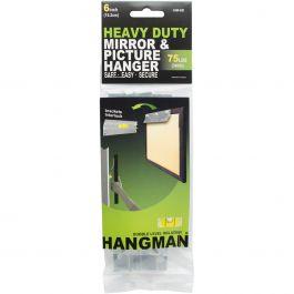 """Heavy Duty Hangman Mirror & Picture Hanger W/Walldogs 6"""" 75Lbs - HM-6D"""