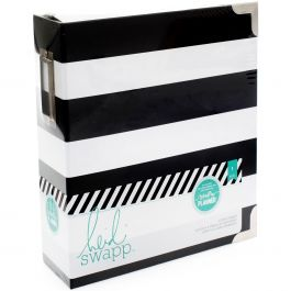 "Heidi Swapp Large Memory Planner Binder 7.75""X8.75"" Black & White Stripe - HS312598"