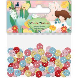 Santoro Kori Kumi Ii Mini Plastic Buttons 100/Pkg Assorted Colors; 11Mm, 8Mm, 5Mm - SKKBTN3