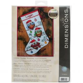 "Dimensions Counted Cross Stitch Kit 16"" Long Holiday Hooties Stocking (14 Count) - 70-08951"