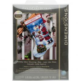 "Dimensions Gold Collection Counted Cross Stitch Kit 16"" Long Holiday Glow Stocking (18 Count) - 70-08952"
