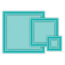 "Cottagecutz Basics Dies 9/Pkg Stitched Square, .5""X.5"" To 3.5""X3.5"" - CCB014"