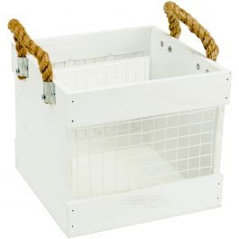 "Hampton Art Wood & Chickenwire Crate 7.75""X7.75""X8"" White W/Rope Handles - AC0655"