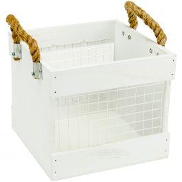 "Hampton Art Wood & Chickenwire Crate 7.75""X7.75""X8"" White W/Rope Handles - AC0655"