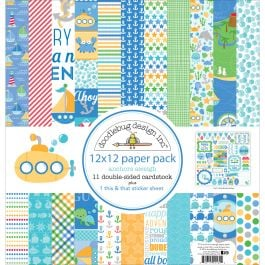 """Doodlebug Double Sided Paper Pack 12""""X12"""" 12/Pkg Anchors Aweigh - AA5134"""