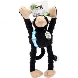 Godog Crazy Tugs Monkey With Chew Guard Large Black - 770868