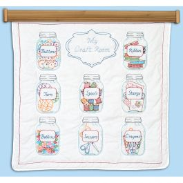 "Jack Dempsey Stamped White Wall Or Lap Quilt 36""X36"" Mason Jars - 739 626"