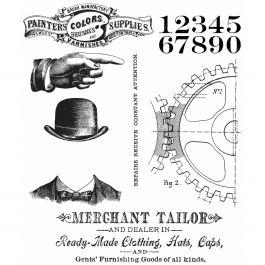 """Tim Holtz Cling Stamps 7""""X8.5"""" Dapper - CMS-267"""