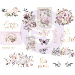 "Lavender Frost Chipboard Stickers 5""X8"" 2/Pkg-Icons W/Foil Accents"