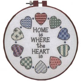 "Dimensions/Learn-A-Craft Stamped Cross Stitch Kit 6"" 12/Pk-Home & Heart"