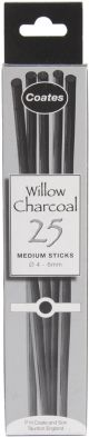 Ph Coates Willow Charcoal 25/Pkg Medium  4Mm To 6Mm - G1002