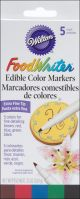 Food Writer Extra Fine Tip Edible Color Markers .25Oz 5/Pkg Assorted - W609105