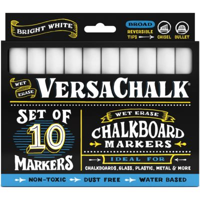 VersaChalk Bold Liquid Chalk Markers 10/Pkg-White