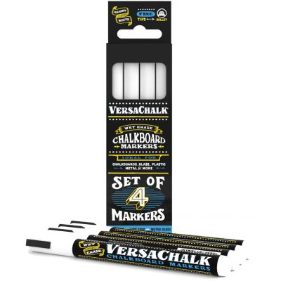 VersaChalk Fine Liquid Chalk Markers 4/Pkg-White