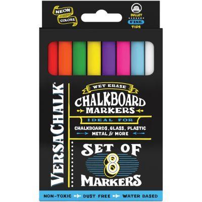VersaChalk Fine Liquid Chalk Markers 8/Pkg-Neon