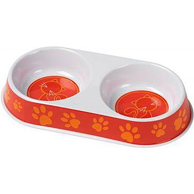 Petface Melamine Double Cat Bowl Orange - PET30592