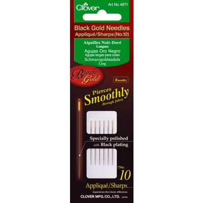 Clover Black Gold Applique/Sharps Needles Size 10 6/Pkg - 4971