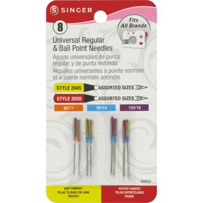 Singer Universal Regular & Ball Point Machine Needles Sizes 11/80 (2), 14/90 (4) & 16/100 (2) - 4800