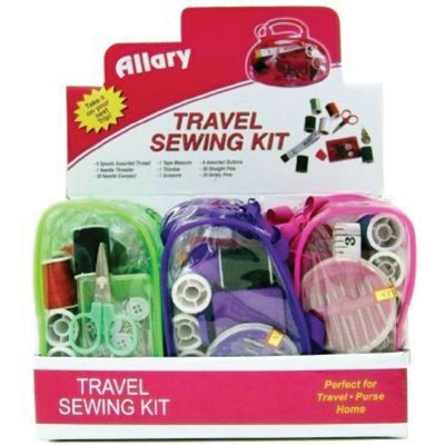 Allary Travel Sewing Kit Display 12pc-Assorted Colors