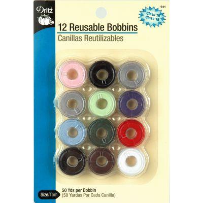Dritz Reusable Bobbins Pre Threaded 12/Pkg Assorted Colors - 941