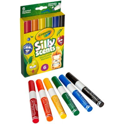 Crayola Silly Scents Wedge Tip Washable Markers Assorted Colors 6/Pkg - 58-8197