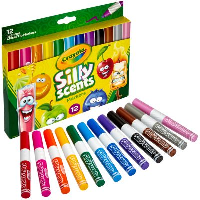 Crayola Silly Scents Wedge Tip Washable Markers Assorted Colors 12/Pkg - 58-8199