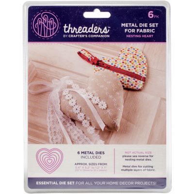 Crafter'S Companion Threaders Metal Fabric Nesting Dies 6Pkg Heart - THMD13