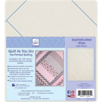 June Tailor Quilt As You Go Printed Quilt Blocks On Batting Sophisticated Strips - JT1405