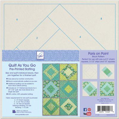 June Tailor Quilt As You Go Printed Quilt Blocks On Batting Paris On Point - JT1407