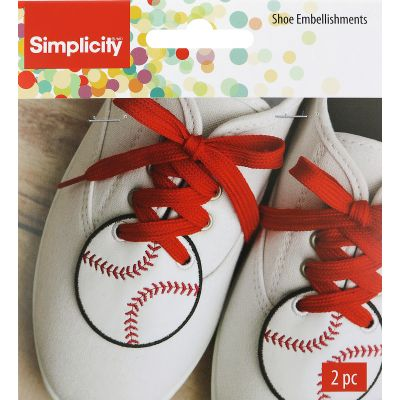 Wrights Shoe Wing Embellishment 2/Pkg White Baseball 2.5