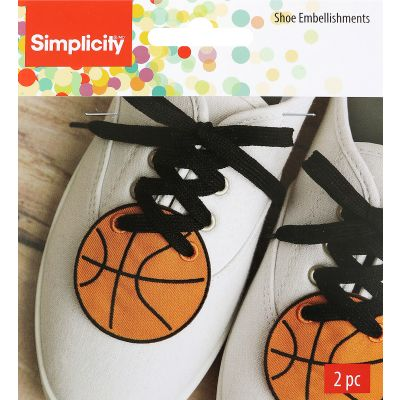 Wrights Shoe Wing Embellishment 2/Pkg Orange Basketball 2.4