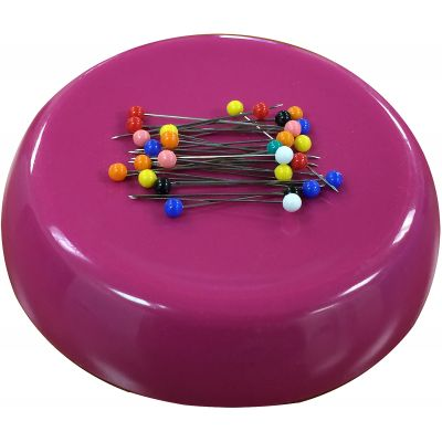 Grabbit Magnetic Pincushion W/50 Pins-Raspberry