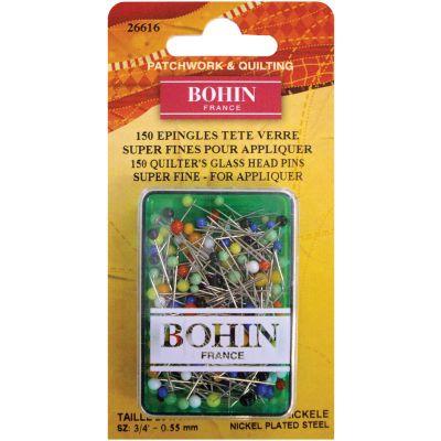 Bohin Glass Head Applique Pins Size 12 150/Pkg - 26616