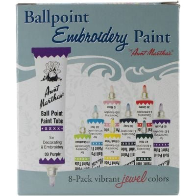 Aunt Martha'S Ballpoint Paint Tubes 1Oz 8/Pkg Jewel Colors - 777