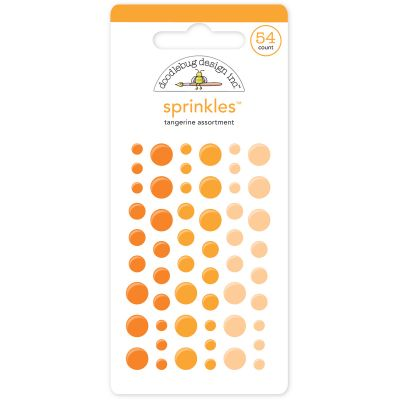 Doodlebug Sprinkles Adhesive Glossy Enamel Dots Tangerine, 54/Pkg - MONOS-4007