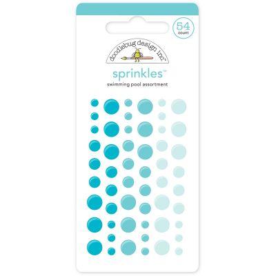 Doodlebug Sprinkles Adhesive Glossy Enamel Dots Swimming Pool, 54/Pkg - MONOS-4010