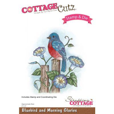 Cottagecutz Stamp & Die Set Bluebird & Morning Glories 3