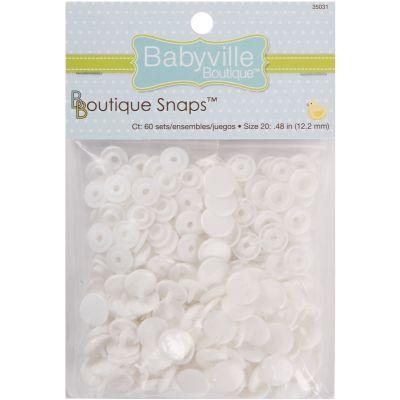 Babyville Boutique Snaps Size 20 60/Pkg White - 350S-31