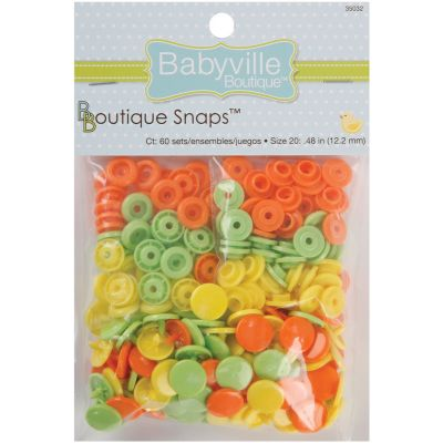 Babyville Boutique Snaps Size 20 60/Pkg Solid  Green, Yellow & Orange - 350S-32