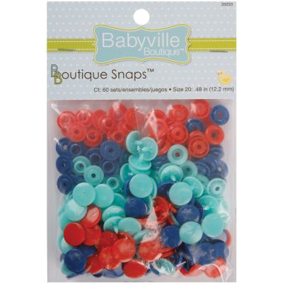 Babyville Boutique Snaps Size 20 60/Pkg Solid  Red, Blue & Light Blue - 350S-33