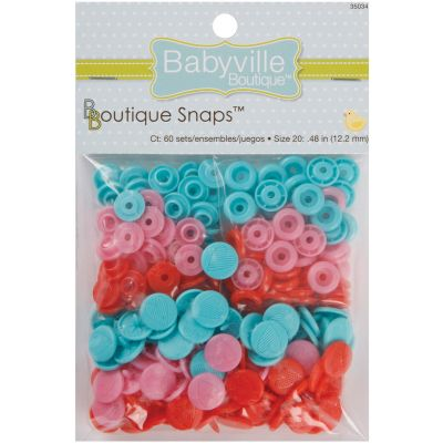 Babyville Boutique Snaps Size 20 60/Pkg Sweet Stuff Hearts  Red, Pink & Blue - 350S-34