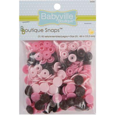 Babyville Boutique Snaps Size 20 60/Pkg Mod Girl Flowers Brown/Pink/Light Pink - 350S-35