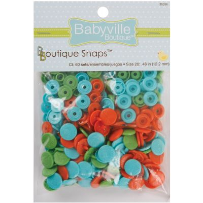 Babyville Boutique Snaps Size 20 60/Pkg Playful Pond  Green, Blue & Orange - 350S-36