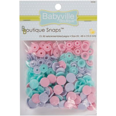 Babyville Boutique Snaps Size 20 60/Pkg Butterflies  Pink, Purple & Blue - 350S-38